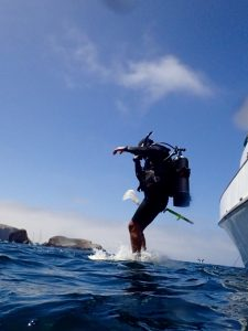 Rich A. jumping in at Donna's Wall on Santa Cruz Island 7-17